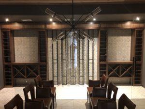 Walnut Wood Racks with Metal Vertical Racks in the Center